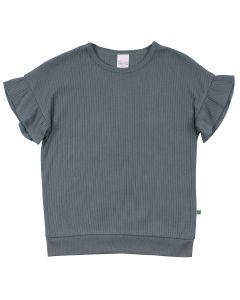 ALFA rib T-shirt with ruffle sleeves