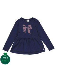 Cute top with peplum and bow embrodery