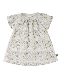 LEAF baby dress with print of small leafs